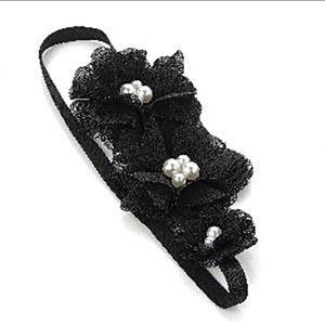 NWT Black Flower Headband Pearl Rhinestone Maurice